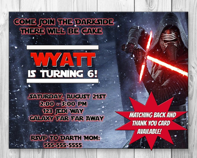 Star Wars Kylo Ren Birthday Party Invitation Invite The Force