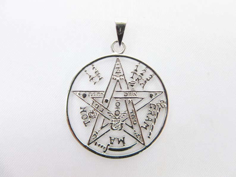 symbol 5 elements pentagram magic jewelry Wicca Pendant silver protection necklace enchanting, esoteric