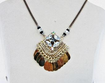 Necklace, Pendant, Oriental, Amulet, Gold, Copper, Gemstones, Ethnic, Gift, Trend, Fashion, Eyecatcher, Statement,