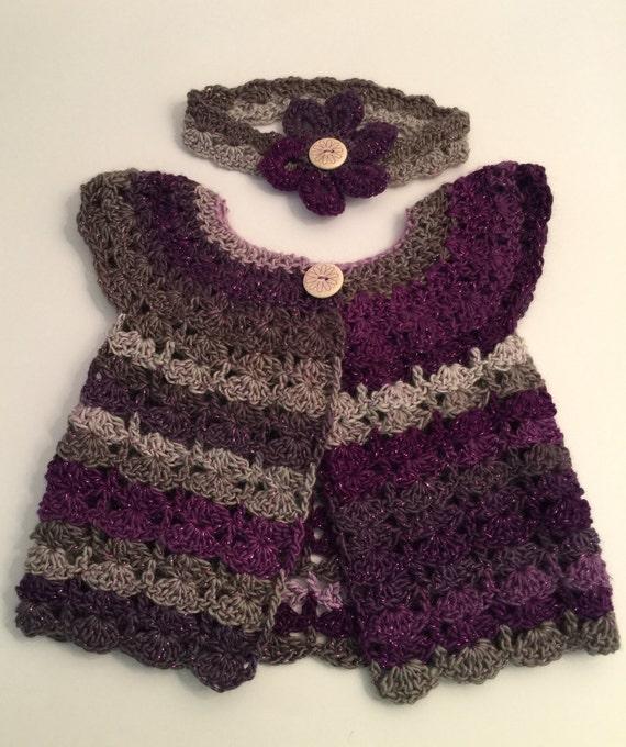 Baby Strickjacke Stirnband Häkeln Baby Outfit Lavendel Etsy