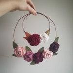 Reserved for Lizzie - custom copper hoop wreaths, rose mini wreath, crochet rose hoops, Christmas wreath, floral hoop duo