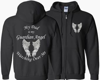 Dad Guardian Angel Zipper Hoodie - My Dad Is My Guardian Angel Watching Over Me - My Guardian Angel - Hoodie Zip Jacket