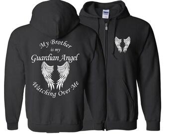 Brother Guardian Angel Zipper Hoodie - My Brother Is My Guardian Angel Watching Over Me - My Guardian Angel - Hoodie Zip Jacket