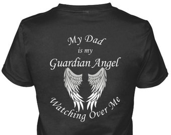 08246615 Dad Guardian Angel Wings Shirts And Hoodies, Dad Angel Wings, Dad Memorial T  Shirts, Dad Guardian Angel Gift, Dad In Heaven Watching Over Me