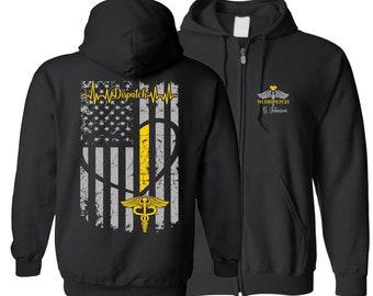 f31a11a6 911 Dispatch Flag Zipper Hoodie, Dispatch Gifts For Her, Dispatch Hoodie, 911  Dispatch Gift,