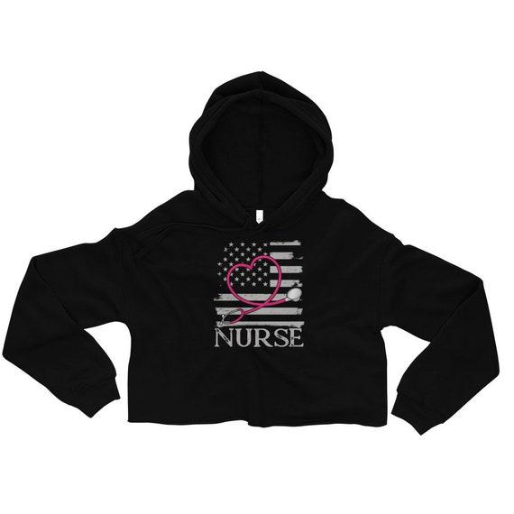 Nurse Crop Sweat à capuche drapeau - Hoodie drapeau capuche infirmière infirmière appréciation infirmière Hoodie infirmières Hoodie pull Infirmière Infirmière infirmière de Graduation cadeau de Noël c32574