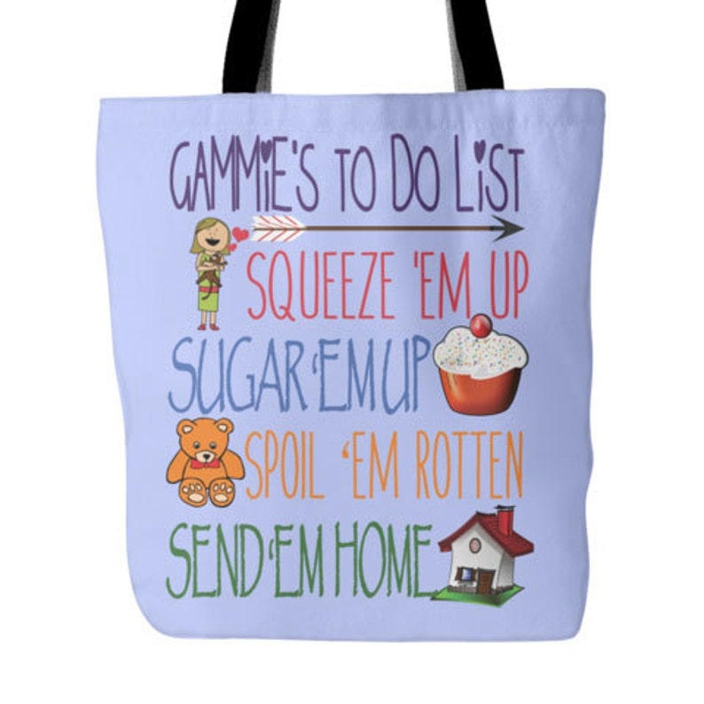 Gammie/'s To Do List  Gammie Gift  From Granddaughter  Gift From Grandson  New Gammie  New Grandma  Grandparents Day  Grandma Tote Bag