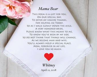 Wedding Handkerchief, Mother of the Bride Handkerchief, Printed, FREE GIFT BOX, Wedding Hankerchief, Mother Of The Bride Gift, Gift #2