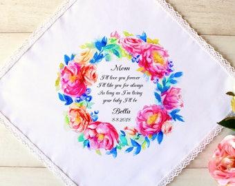 Wedding Handkerchief, Personalised Mother of the Bride Handkerchief,Wedding Hankerchief,Gift Box,Wedding ,Wedding Gift,Wedding Hankie #1