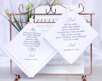 Wedding Hankerchief, Wedding Hankie Set, Wedding Handkerchief, Father of the bride Handkerchief,Mother of the Bride Handkerchief #2