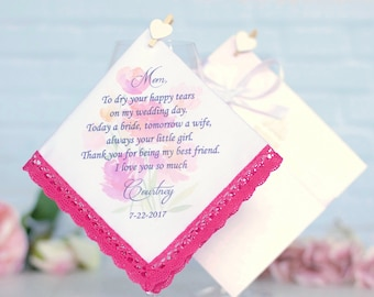 Wedding Handkerchief, Mother of the bride handkerchief, Mother of the bride gift, Wedding Gifts, Personalized, Wedding gift for Mom #2
