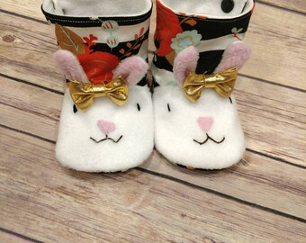 Ready to ship! Easter bunny booties, bunny rabbit, toddler, baby shoes, crib shoes, slippers, slip on shoes, baby booties,