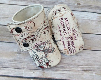 Tan and Maroon HP Harry Potter booties, toddler,baby shoes, crib shoes, slippers, slip on shoes, baby booties, bib, bows, hermone Granger