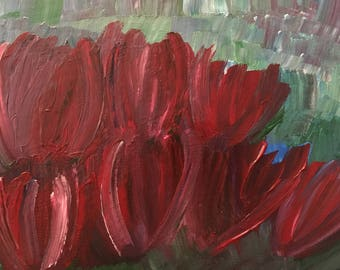 8x10 Red Tulips in a garden - free frame