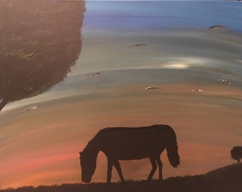 Horse in the Meadow  16x20  Stretched Canvas