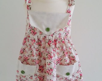 Cute handmade Pink & Cream Floral Sundress for 1 - 2 year old