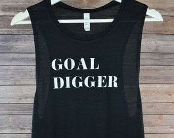 Goal Digger Muscle Tank: Women's Flowy Gym Workout Tank- 3 Colors Available