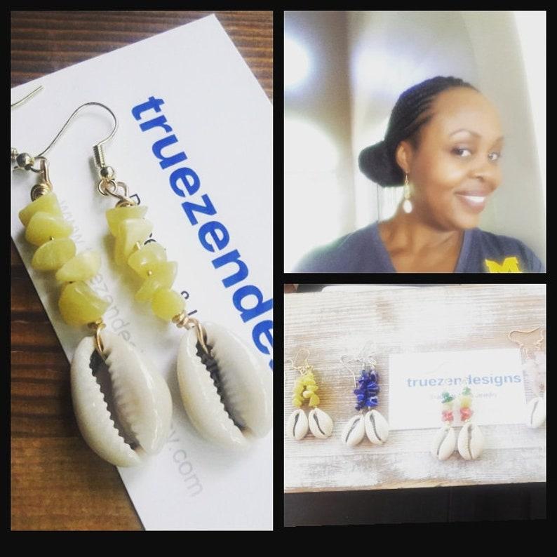 Dangle Earrings Cowrie Shell Earrings Beach Wedding Boho Earrings Afrocentric Jewelry Natural Hair Earrings Tribal Jewelry Island Earrings