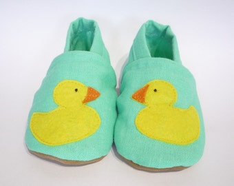 Green baby shoes, linen baby booties, soft sole baby shoes, duck yellow