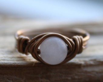 Rose Quartz & Bronze Ring, Wire Wrapped Ring, Quartz Stone, BOHO Ring, Gemstone Rings, Beach Jewelry, Handmade, Women's, Washed Up Jewelry