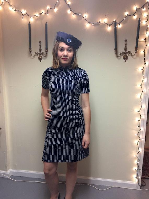 1960's Blue polka dot dress with blazer