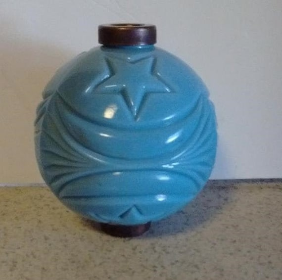 Blue Glass Lightning Rod Ball Roof Home Cabin Decor