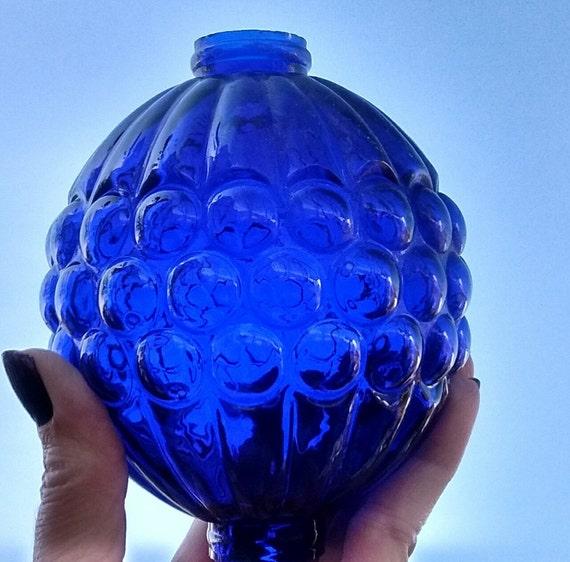 Cobalt grape glass lightning rod ball roof  cabin decor weathervane globe