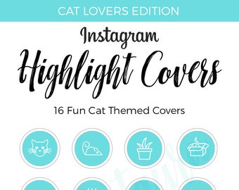 Instagram Highlight Covers   Cat Icons   Cat Highlight Covers   Instagram Stories   Teal Highlight Covers