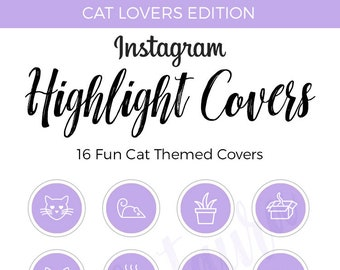 Instagram Highlight Covers   Cat Edition   Purple Highlight Covers   Cat Themed Icons