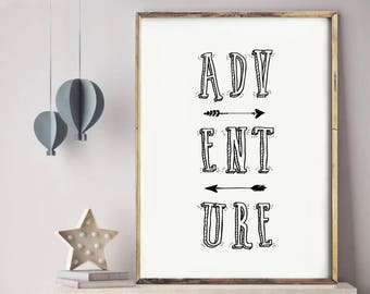 Nursery decor, nursery print, nursery wall art, baby boy gift, baby shower gift, home decor, baby girl, nursery, baby gift, adventure quote
