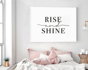 Lovely Rise And Shine, Rise And Shine Print, Rise And Shine Sign, Bedroom  Typography, Bedroom Decor, Bedroom Printable, Bedroom Wall Art