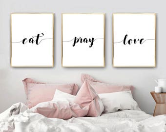Bedroom Decor, Bedroom Wall Art, Mothers Day Gift, Home Decor, Printable  Wall Art, Kitchen Decor, Inspirational, Gift For Her, Eat Pray Love