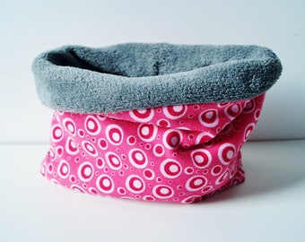 snood baby and toddler pink and gray jersey, Choker