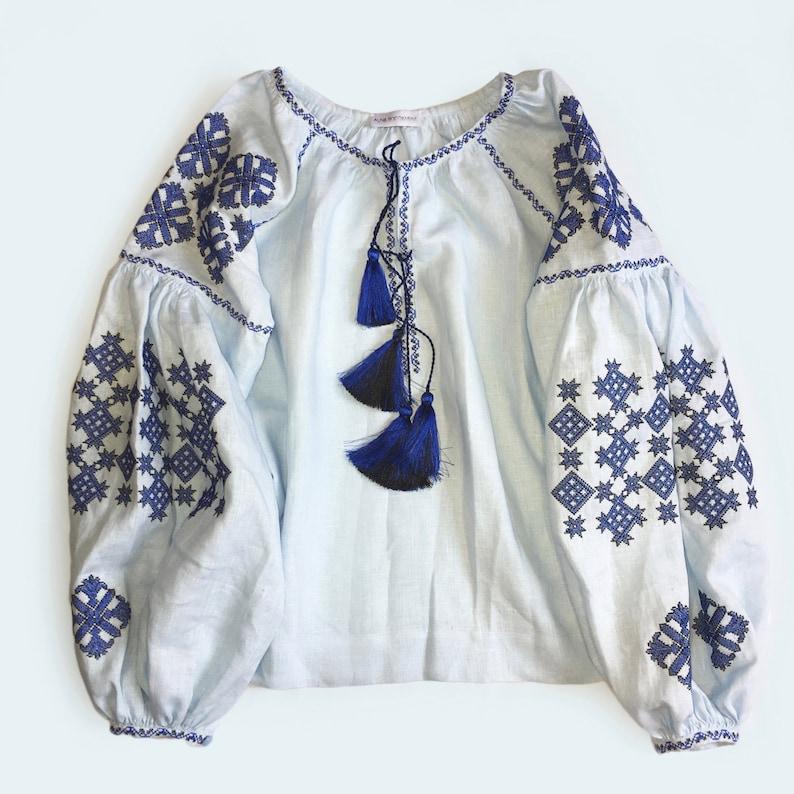 boho chic ethnic folkloric-modern folk style Light blue Ukrainain vyshyvanka blouse of 100/% eco linen with geometric embroidery patterns