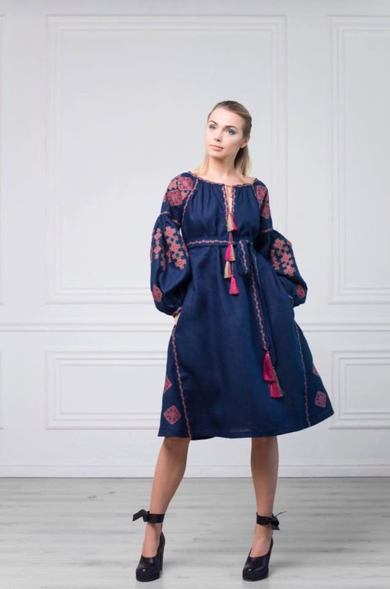 33670dadbce Vyshyvanka midi dress in blue ancient geometric Ukrainian