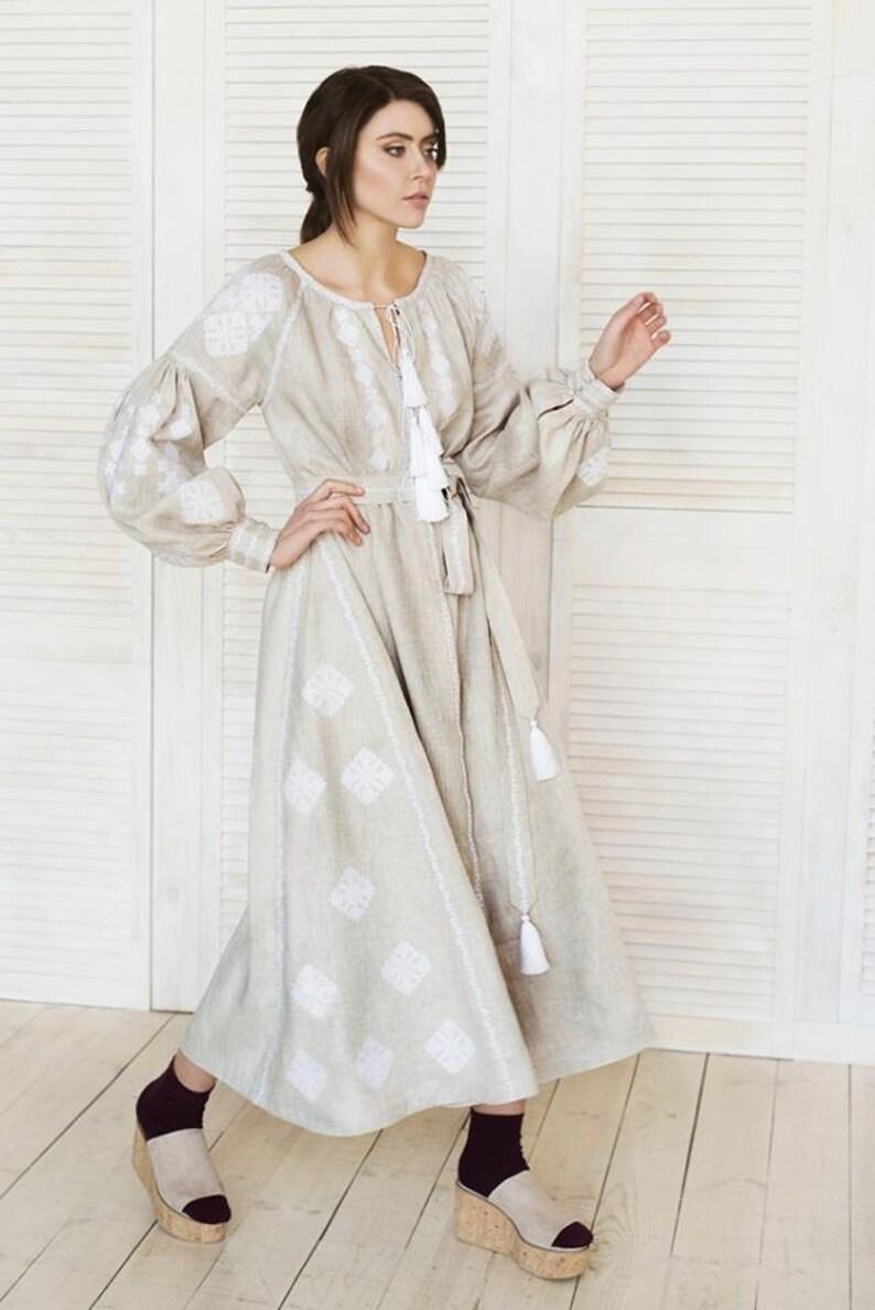 7dbe33eef7a Ukrainian vyshyvanka midi dress natural gray linen with