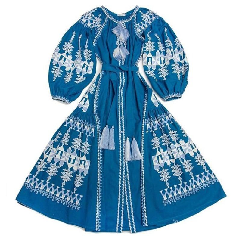 44bedb2836 Ukrainian vyshyvanka long maxi dress blue linen with