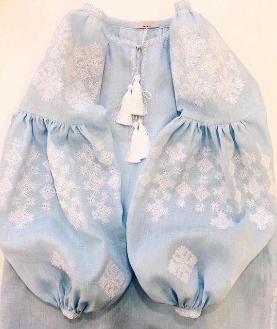 Azul cielo vyshyvanka blusa de lino 100% con ucraniano bordado | Etsy