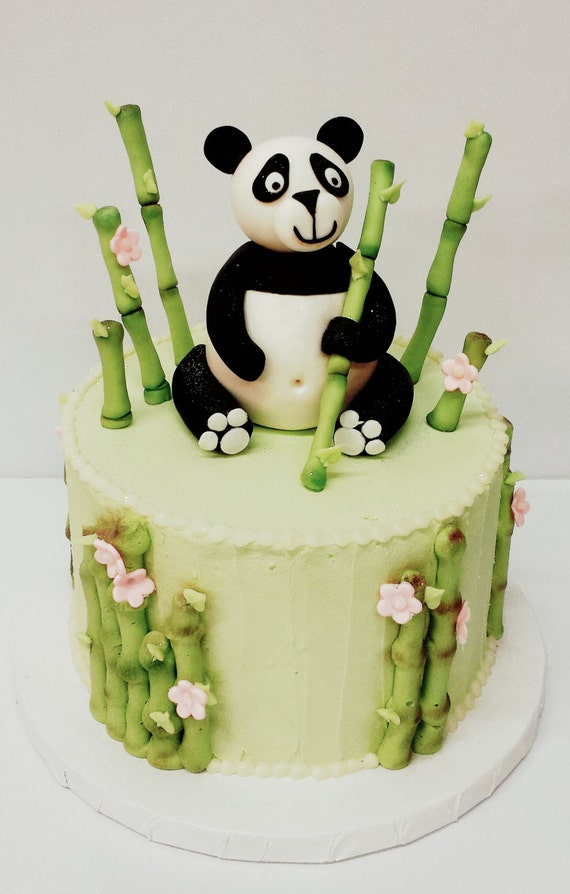 Items similar to Cute Panda and Bamboo Cake topper on Etsy