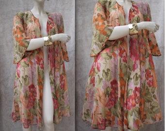 Vintage 90s Spolerino Vestito Vestaglia Floreale Capo Versatile Boho Duster Robe  Dress Summer jacket Floreal Dressing Gown ONE SIZE  0934cb06b