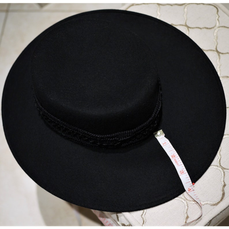Vintage 90s Cappello Nero da donna Larga tesa Feltro di  8ae33fb6943e