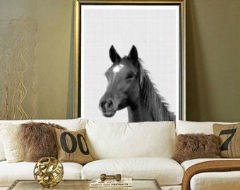 Horse Print, Horse Art, Horse Wall Art, Black and White, Animal Wall Art, Equestrian Art, Modern Poster, Printable Art, Instant Download