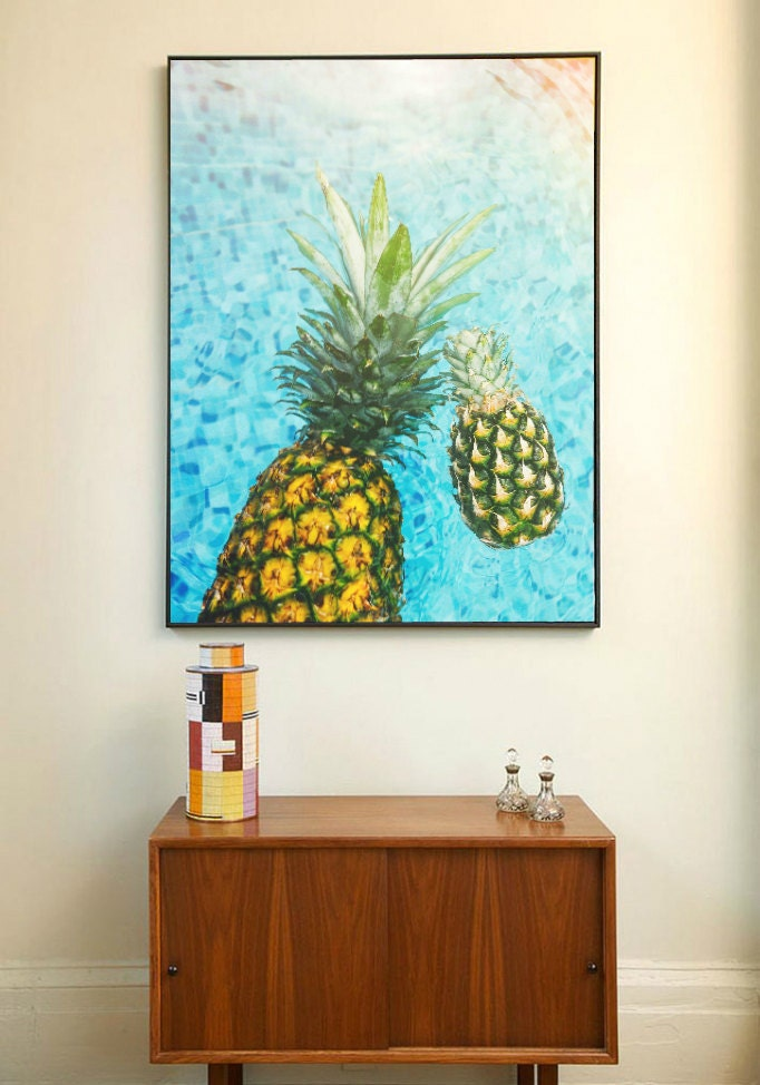 Tropical Kitchen Decor: Pineapple Print Tropical Fruit Wall Art Kitchen Decor