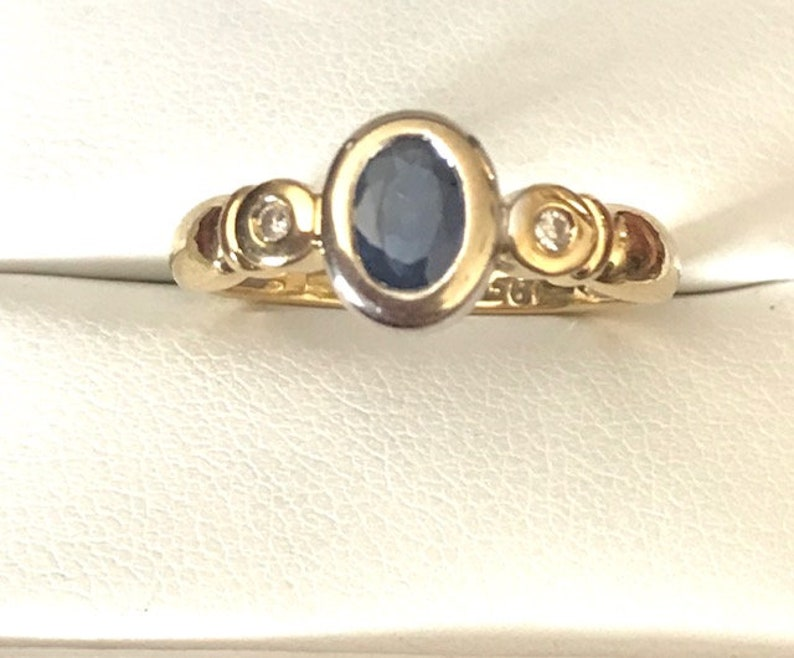 Ring size 6 34 18ct Gold Sapphire and Diamond Ring Bezel set Genuine Sapphire and Diamond USA