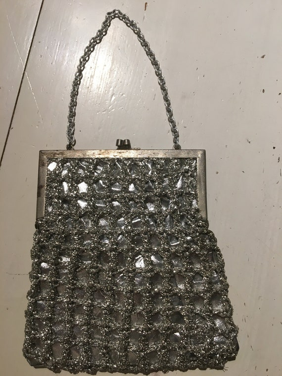 vintage, small handbag in silver from 40s