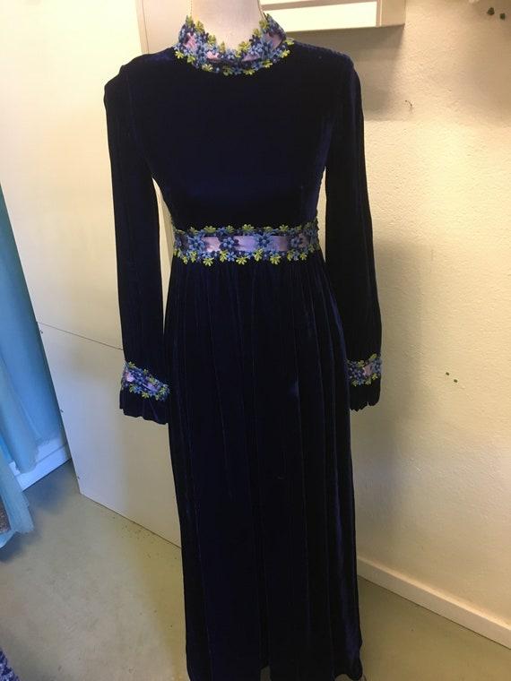 vintage 60s  blue velvetdress