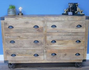 Large industrial Sideboard UK - Chest of Drawers Large Cabinet - Industrial Furniture UK | Solid wood sideboard | Storage Cabinet |