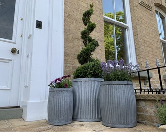 Outdoor Planters | Set of 3 Industrial Galvanised Planters | Gardening | Plant Pots in the UK