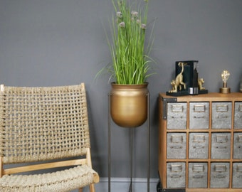Tall Indoor Planter On Stand | Planters | Plant Pot | Gold Planter | Home Decor |