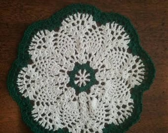 6 inch green and white pineapple doily